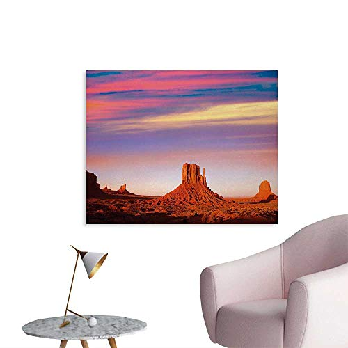 Tudouhoho United States Cool Poster Monument Valley West Mitten and Merrick Butte Sunset Utah Desert Wallpaper Dark Orange Pink Blue W32 xL24 California State Poster Set
