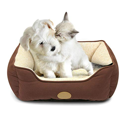 Fluffy Paws Pet Lounger Ped Bed Premium Bedding with Super Soft Padding and Anti-Skid Bottom for Dogs Cats Lightweight, Self-Warming , Brown – Small 22 x 18 x 7