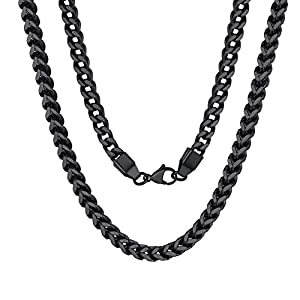 Best Epic Trends 41LNdUDR6nL._SS300_ ChainsPro 3/4.5/6/7MM Flat Franco Cuban Link Chain, 18/22/26/28/30/32 inches,Black/18K Gold Plated/Rose Gold Color(Send…