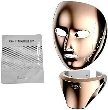 OPERA LEBODY LED MASK FACE, NECK LED MASK Home Skin Care Device(Gold Color) + OPERA Ultra-Hydrogel Mask Pack 10EA (Gift)