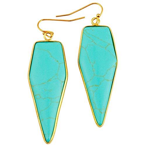 rockcloud Crystal Stone Dangle Earrings Gold Plated,Sword Shape,Green Howlite Turquoise