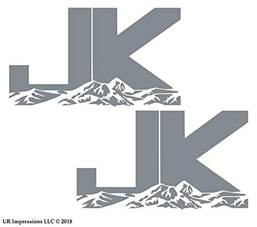 UR Impressions Silv 6.3in. JK Mountains 2-Pack Decal Vinyl Sticker Graphics for Jeep Wrangler 4x4 Unlimited Sahara Rubicon Moab Overland Arctic SUV Walls Windows Laptop|Silver|6.3 X 3.7 inch|URI687-S