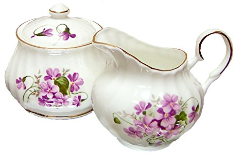China Porcelain Sugar Bowl (Wild Violets Sugar and Creamer Set - Fine English Bone China)