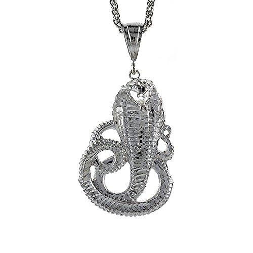 Cobra Snake Pendant (Sterling Silver Cobra Snake Pendant, 2 1/4 inch tall)