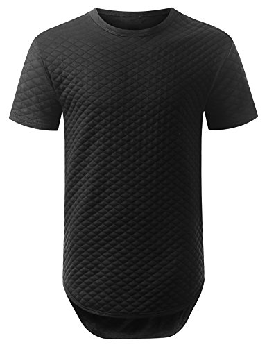 URBANCREWS Mens Hipster Hip Hop Basic Solid Quilted Longline T-Shirt Black, XXL