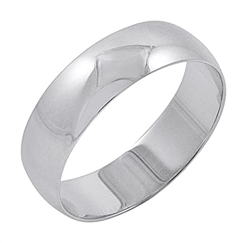 Men's 10K White Gold 6mm Traditional Plain Wedding Band (Available Ring Sizes 8-12 1/2) Size 10 (6 Mm White Gold Band)
