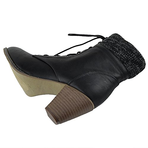 Dress Collar Knitted Ankle Womens Shoes Black Casual Boots ZFgxnwqXB