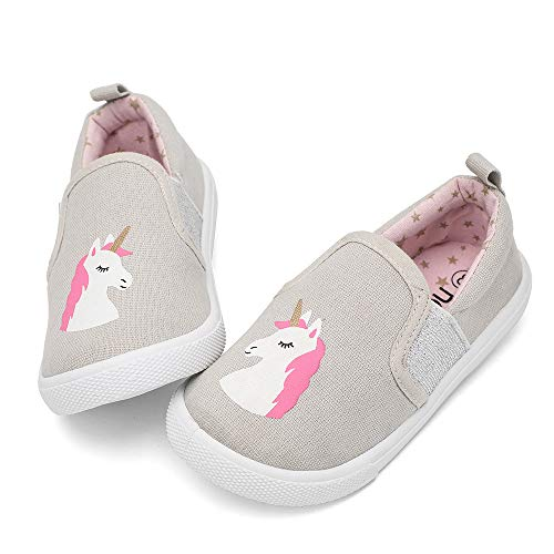 nerteo Cute Slip On Walking Shoes for Toddler, Casual Sneakers Lightweight/Machine Washable Unicorn Beige/Silver 10 M US Toddler