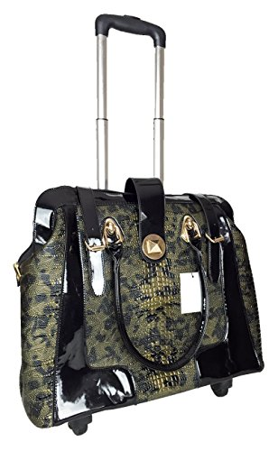 Trendy Flyer 17'' L Computer/Laptop Carry Bag Duffel Rolling 4Wheel Spinner Luggage Croc Green by Trendy Flyer