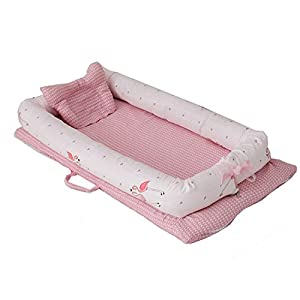 Abreeze Baby Bassinet for Bed -Flamingos Baby Lounger – Breathable & Hypoallergenic Co-Sleeping Baby Bed – 100% Cotton Portable Crib for Bedroom/Travel 0-24 Months