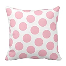 Pink and White Polka Dots Design Throw Pillow Case Cover Decorative for Home Sofa Square Zippered 18X18 Inch(Two Sides)