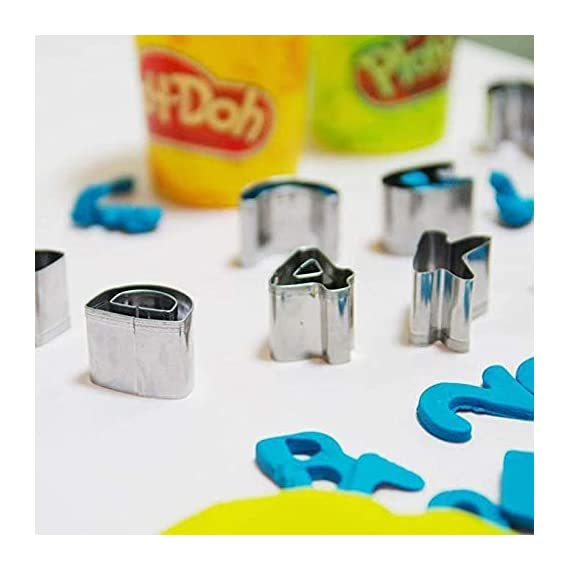 Mini alphabet and number cookie cutters set of 36 pieces stainless steel small mold tools for fondant biscuit, cake… 2 spell the words you like, the cookie cutter set with 36 pieces (26 capital letters + 0-9 numbers). You can use it directly and impress words in rolled fondant high quality durable food-grade stainless steel can through a variety of doughs easily, non-stick metal material make food releases easy mini biscuit cutters set with sharp shapes and interior cutouts for a great graphic quality. Dough releases easily from cutter, and shapes hold well during baking