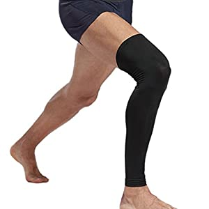 1 Pair Compression Leg Sleeves for Men, Women - Full Length Stretch Long Sleeve with Knee Support, Non-Slip Inner Bands (Black, White) from MAKLULU