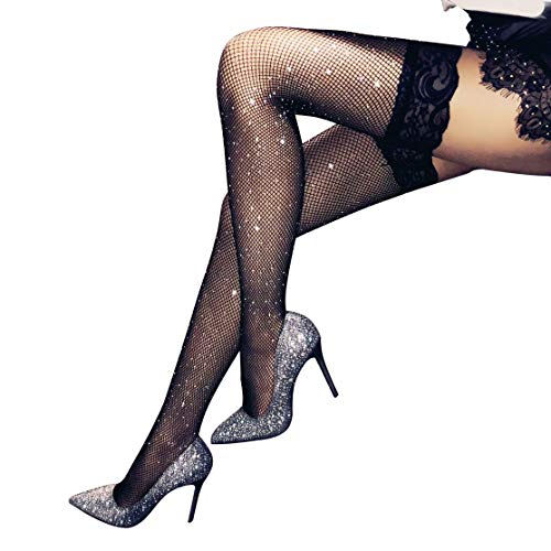 (Stockings Women's Thigh High Tights Sparkle Rhinestone Lace Top)