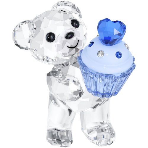 Swarovski Kris Bear Figurine -Baby Boy Birthday Blue Cupcake