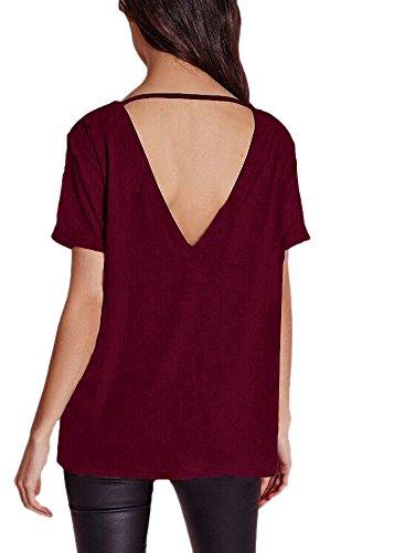 Afibi Womens Short Sleeve V-Neck Draped Open-Back Fashion T-Shirt (Medium, Wine Red)