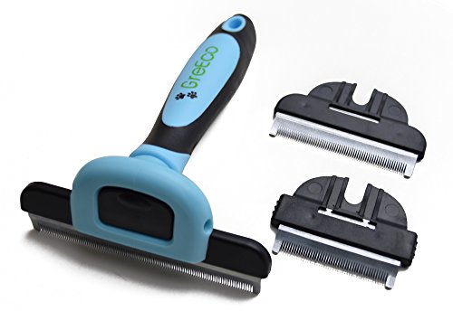 GreEco 3-in-1 Professional Deshedding Tool & Pet Grooming Brush, 3 Size Brushes, for Small, Medium & Large Pets, Blue ()
