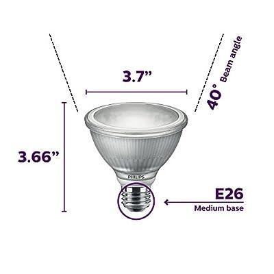 Philips LED 477455 LED Classic Glass Dimmable PAR30S 40-Degree Spot Light Bulb with Warm Glow Effect 850-Lumen, 2200-3000-Kelvin, 10 (75-Watt Equivalent), E26 Base, Bright White, 4 Pack