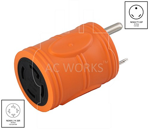 AC WORKS Generator to Transfer Switch L14-30 Inlet Box Adapter (TT-30 RV 30Amp to L14-30 Compact) by AC WORKS (Image #1)