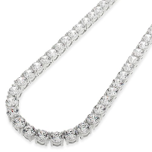 Sterling Silver 5mm Brilliant-Cut Clear Round CZ Solid 925 White Tennis Necklace 20'' - 30'' (20) by In Style Designz