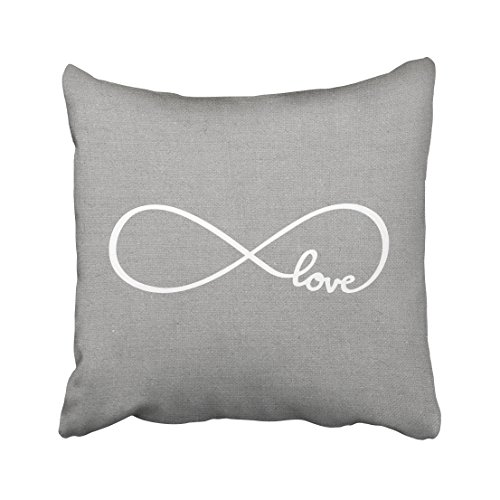Love Throw Pillow - Emvency Square 16x16 Inches Decorative Pillowcases forever rustic gray love lumbar pillow Cotton Polyester Decor Throw Pillow Cover With Hidden Zipper For Bedroom Sofa