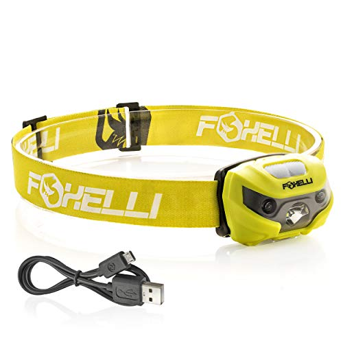 Flashlight Headlamp Headlight - Foxelli USB Rechargeable Headlamp Flashlight - 160 Lumen, up to 30 Hours of Constant Light on a Single Charge, Super Bright White Led + Red Light, Compact, Easy to Use, Headlight for Camping & Running