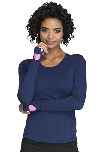 Heartsoul Women's Long Sleeve Knit Solid T-Shirt (Small, Navy) ()