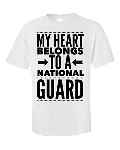 National Guard Unisex T-Shirt - My Heart Belongs to A - Military Wife Gift White