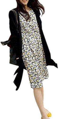 【KATTSU】 ポケット付き ふんわり ロング カーディガン ロングガウン レディース ブラック