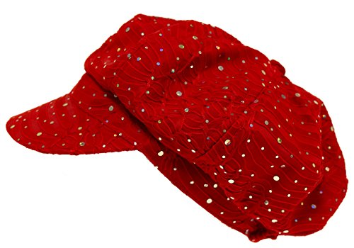 Sparkle Glitter Newsboy / Red (Sparkle Newsboy Cap)