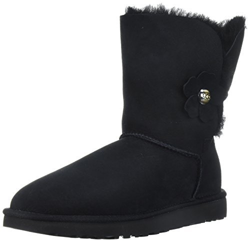 UGG Women's Bailey Button Poppy Boot, Black, 8 M US