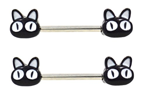 Pair of Cute Black Cat face ends Nipple bar rings - 14g Cat Eye Bar End