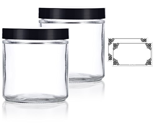 Large Clear Thick Glass Straight Sided Jar - 16 oz / 480 ml