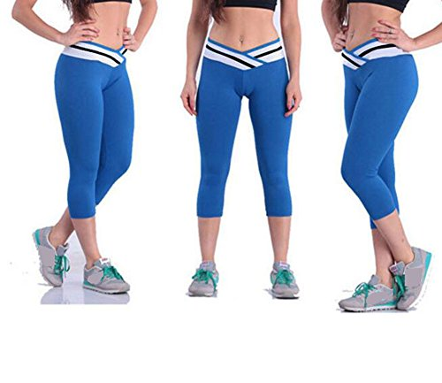 Ake mujer Cotton Stretch Sports Running Yoga Tights Pantalones Crossover Waist Contrast Color Striped Yoga Leggings Blue