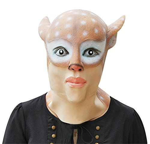 Deer Mask Latex, Realistic Cute Halloween Animal Costume Doe Cosplay Headgear (One Average Size)