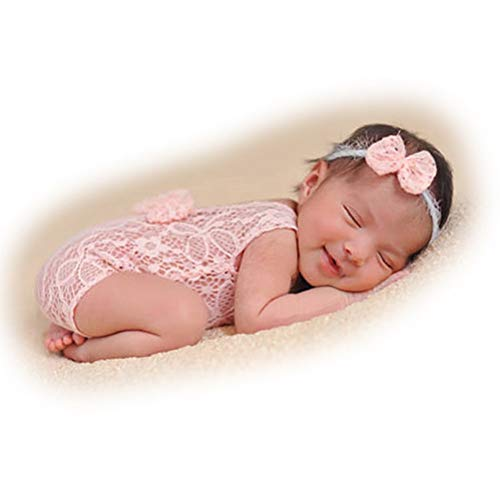 Baby Photography Props Newborn Girl Photo Shoot Outfits Infant Costume Lace Headdress Rompers (Pink)