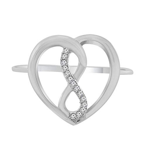 Trillion Jewels Womens 10K White Gold Round Cut Genuine Diamond Infinity Heart Love Ring Mother's Day Gift, 0.04 Ct (0.04 Ct Diamond Fashion)