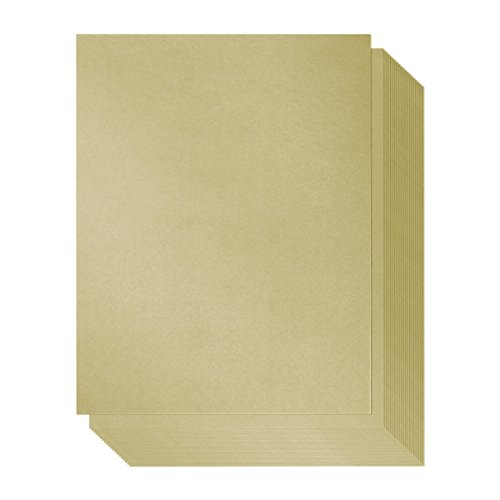 96 Count Metallic Olive Gold Stationery Paper / Invitation Paper for Writing, Scrapbooking, Letters, Certificates, Crafts, 8.5 x 11 Inches