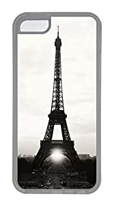 iPhone 5C Case, Customized Protective Soft TPU Clear Case for iphone 5C - Eiffel Tower03 Cover