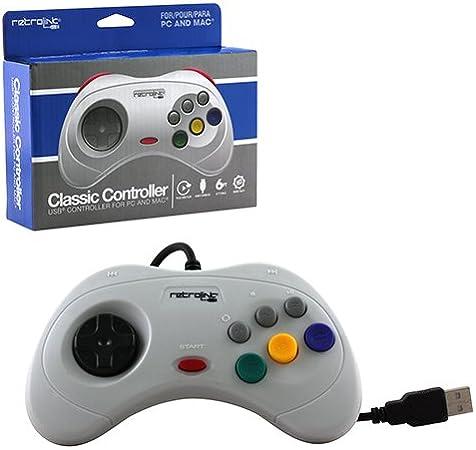 Retro-Bit-PC-1408 Saturn - Controlador USB con Cable, Color Gris