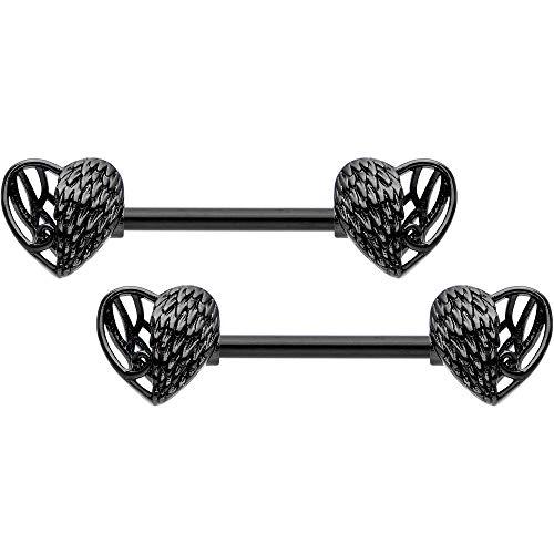 Body Candy 14G Women Nipplerings Piercing Black PVD Steel 2Pc Angel Wings Nipple Ring Set -
