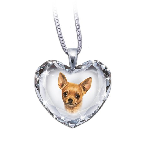 Heart-Shaped Crystal Dog Pendant Necklace: Chihuahua, Close To My Heart by The Bradford (Heart Pendant Necklace Portrait)
