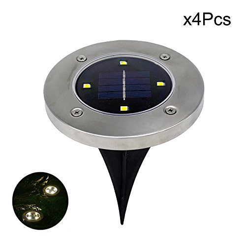 XEDUO LED Solar Powered Ground Light, 4Pcs 4LED Solar Power Buried Light Under Ground Lamp Light for Outdoor Path Way Yard Garden Decking Lawn Waterproof (Yellow) - Moonlight Fairy Lamp