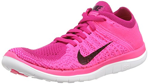 Nike Women's Wmns Free 4.0 Flyknit, PINK FLASH/BLACK-FRBRRY-WHITE, 8 M US