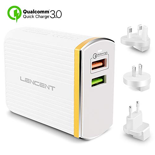 Lencent Travel Fast Charger, Quick Charge 3.0 30W USB Charger Plug, Dual Ports and US/UK/EU International World Wall Adapter Compatible with iPhone, Samsung, LG, Huawei, Sony Xperia XZ, Nexus and More