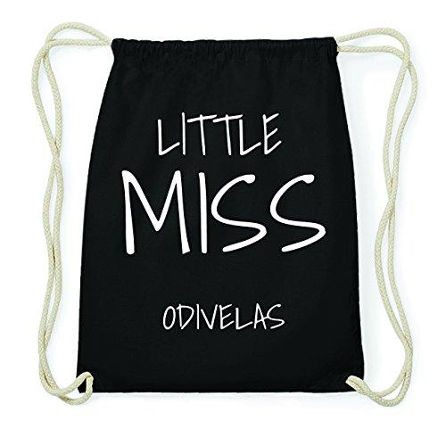 JOllify ODIVELAS Hipster Turnbeutel Tasche Rucksack aus Baumwolle - Farbe: schwarz Design: Little Miss FcCZiOZ
