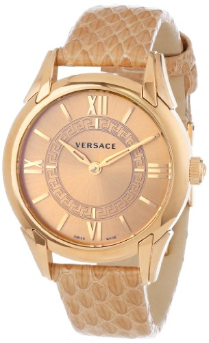 Versace Women s VFF020013 Dafne Rose Gold Ion-Plated Stainless Steel Dress Watch with Leather Band
