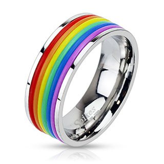 STR-0041 Stainless Steel Rainbow Rubber Striped Band Ring; Comes With Free Gift Box (9) (Gay Jewelry)