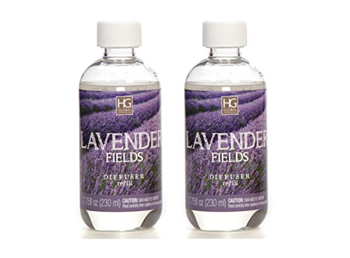 Hosley Aromatherapy Set of 2 Premium Lavender Field Reed Diffuser Refills Oil, 230 ml (7.75 fl oz) Made in USA. Bulk Buy. Ideal Gift for Weddings, spa, Reiki, Meditation Settings W1