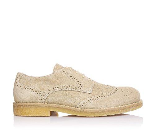 JARRETT - Chaussure à l'anglaise à lacets beige, en suède, caractérisée par l'utilisation de matériaux d'haute qualité et cuir recherché, garçon, garçons